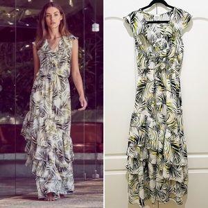 MISA palm print ruffle trim maxi dress S